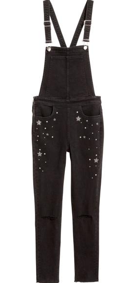 uk availability fashion design outlet boutique H&M Black Bib Slim Fit Overalls w/ Stars Sz 8 NWT